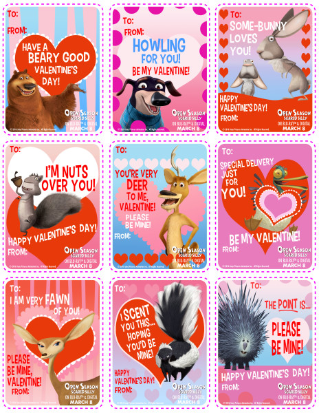 Open Season Scared Silly Free Valentine's Cards