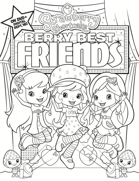 Printable Strawberry Shortcake and Friends Coloring | 600x463